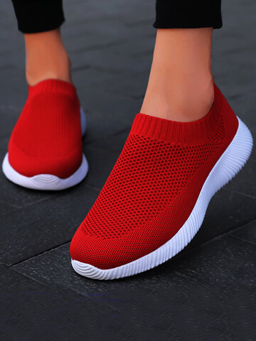 Air Mesh Knit Slip On Sneakers