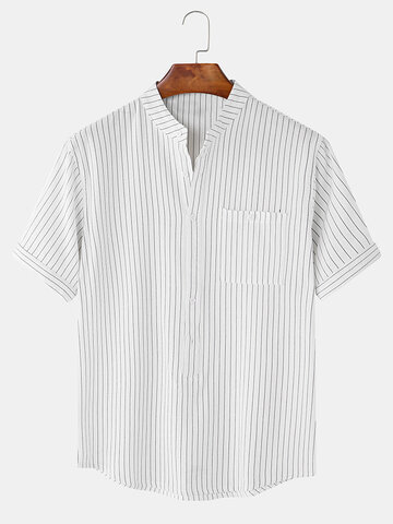 Plain Stripe Collarless Short Sleeve Shirts