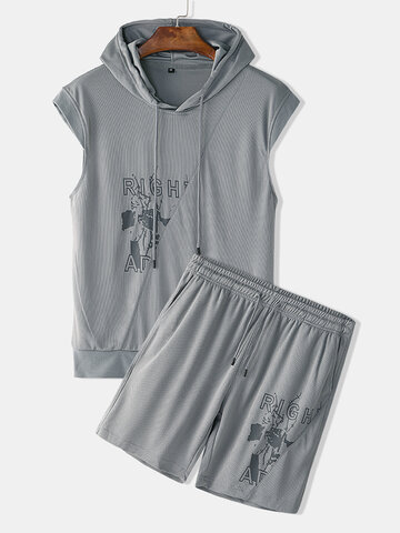 Muscle Tracksuit with Short Sleeve Hoodie