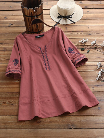 Floral Embroidery V-neck Blouse
