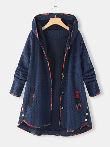 Floral Print Jacquard Hooded Coat