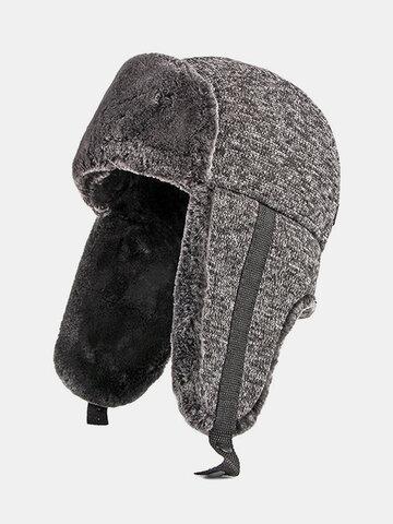 メンズ防寒厚冬トラッパーハット