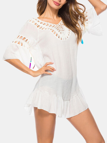 Hollow Out Feather Tassel Backless T-shirt