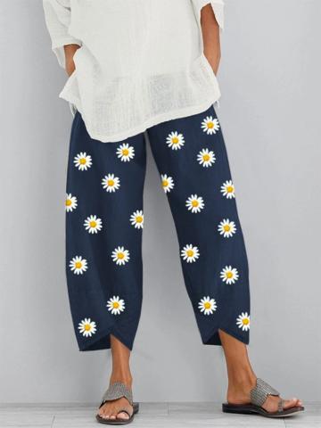 Daisy Floral Printed Elastic Waist Pants