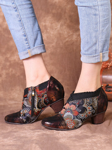 SOCOFY Vintage Leather Flowers Embroidery Splicing Chunky Heel Pumps