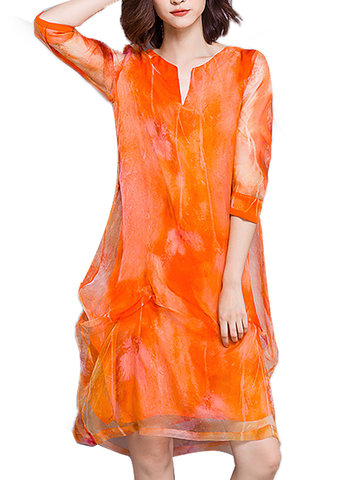 Elegant Print Patchwork Layered 3/4 Sleeve V-neck Women Dress, Orange