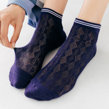 Mesh Short Ankle Socks, Gray black white navy blue