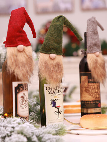 1 Pc Christmas Faceless Old Man Doll Wine Bottle Cover Wine Bag Gift Bag Decorations