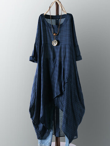 Vintage Plaid Asymmetrical Dress