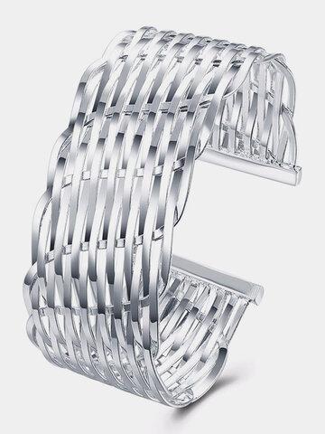 Simple Women Bracelet Silver Plated Weaving Bracelet