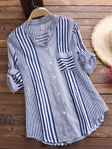 Patchwork Stripe Irregular Casual Shirts