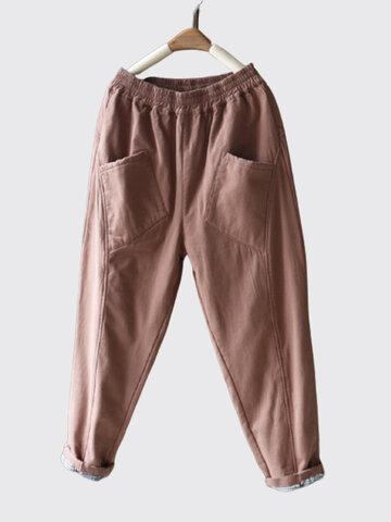 Casual Solid Color Linen Pants