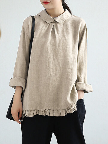 Ruffled Solid Color Lapel Blouse