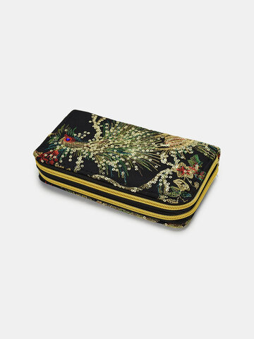 Ethnic Pattern Sequined Embroidered Clutch Bag Wallet