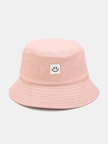 Women & Men Smile Embroidery Pattern Sunshade Bucket Hat