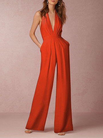 Sexy Backless Deep Jumpsuits
