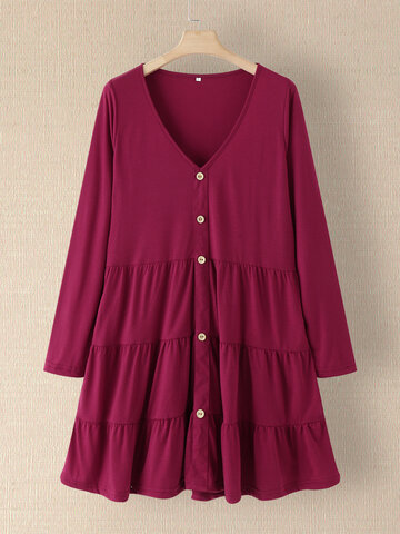 Solid Long Sleeve Button Dress