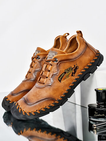 Men Hand Stitching Cow Leather Shoes