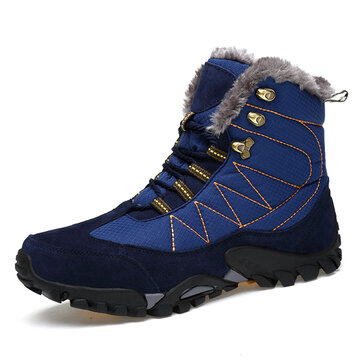 Men Outdoor Waterproof Plush Lining Hiking Boots