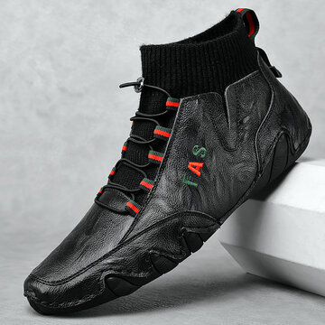 Men Octopus Sole Leather Ankle Boots