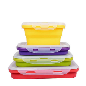 4pcs Silicone Collapsible Food Container
