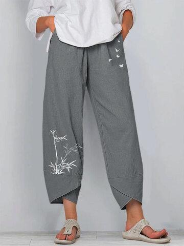 Bamboo Butterflies Print Pants