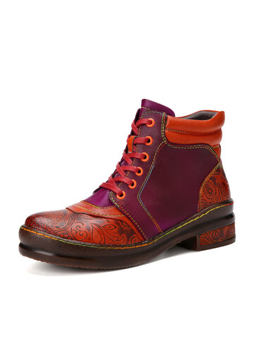 Socofy Printed Leather Lace-up Combat Boots