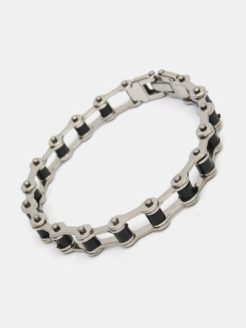 Punk Motorcycle Chain Bracelet 316L Stainless Steel Motorcycle Chain Men Bracelet