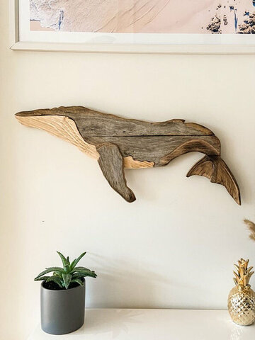 1 PC Wooden Whale Wall Decal Animal Ornament Practical Realistic Wood Marine Element Decoration For Home