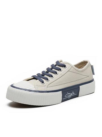 ربط الحذاء حتى منخفض حذاء كاساول قماش مسطح
