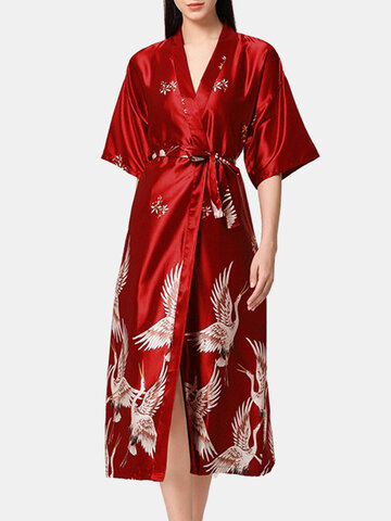 Plus Size Faux Silk Crane Print Robes
