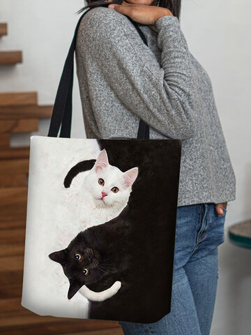 Black White Cats Pattern Tote
