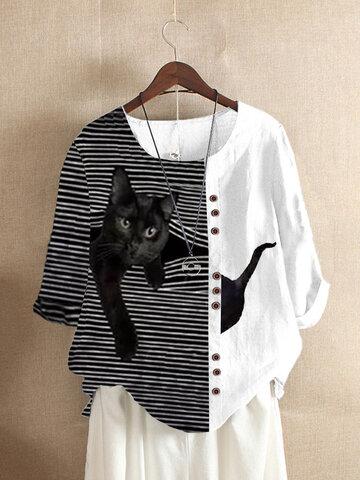 T-shirt a righe stampa gatto nero patch