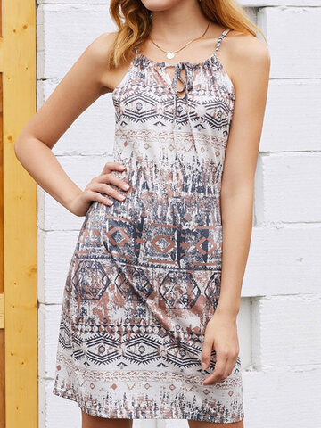 Geometry Knotted Strap Bohemain Dress