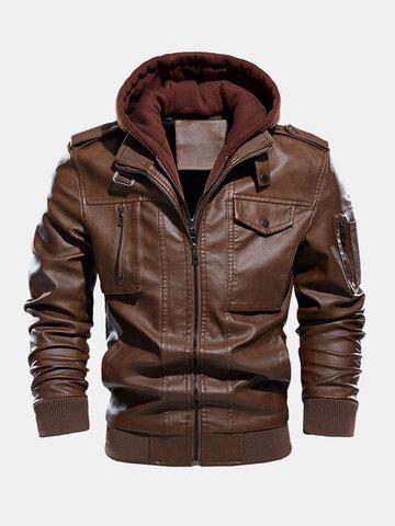 PU Leather Detachable Hooded Jackets
