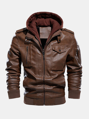 PU Leather Detachable Hooded Jackets