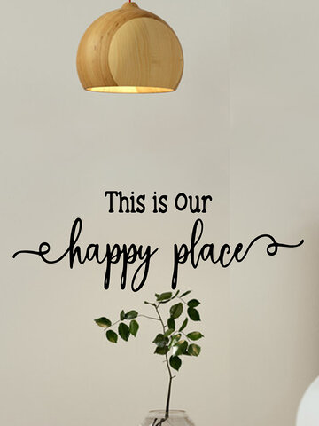 1PC PVC Removable Self-adhesive This Is Our Happy Place Letter Words Quote Slogan Wall Mirror Art Home Bathroom Room Decor Wall Decal Wall Sticker