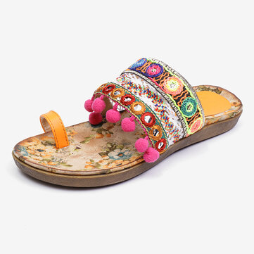 Folkways Embroidered Bohemian Beach Sandals