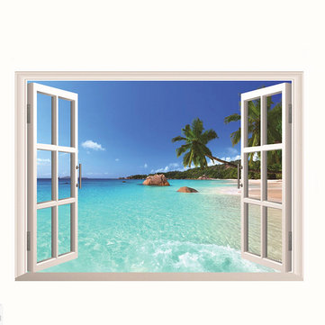 3D Palm Beach Removable Art Stickers Vinyl Decal Home Wall Window Decor