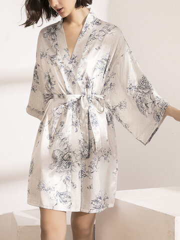 Floral Faux Silk Smooth Belt Robes