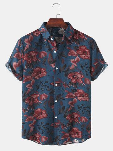 Flower Plant Print Lapel Shirts