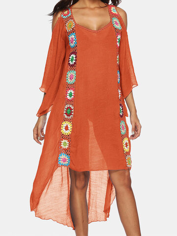 Embroidery Crochet Holiday Blouse Dress