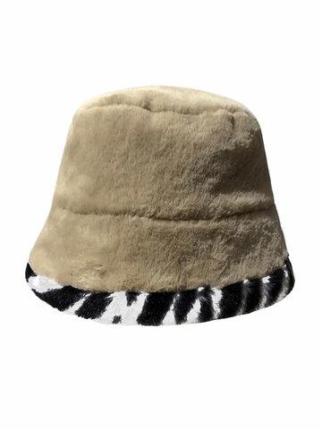 Women & Men Plush Warm Soft Striped Pattern Bucket Hat