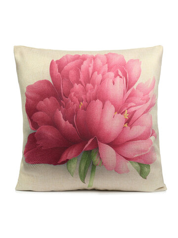 Rose Flowers Cotton Linen Throw Pillow Case Cushion Cover