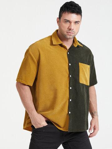 Plus Size Corduroy Patchwork Shirt