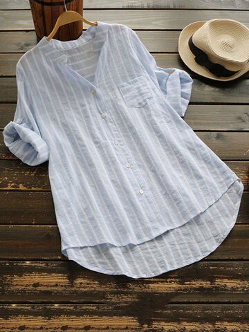 Stripe Half Sleeve Casual Shirts, Grey blue pink yellow