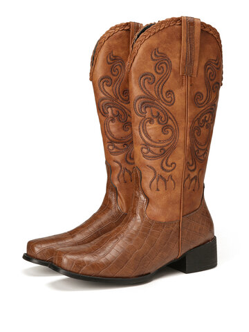 Embroidered Splicing Mid Calf Cowboy Boots