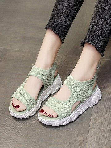 Breathable Knitted Fabric Platform Sports Sandals