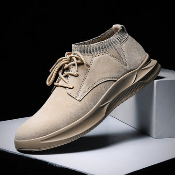 Men Non Slip Elastic Panels Casual Leather Shoes