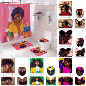 4 pcs/set African American Bathroom Shower Curtain Watercolor Afro Hair Girl Bathroom Curtain Durable Bath African Shower Curtain